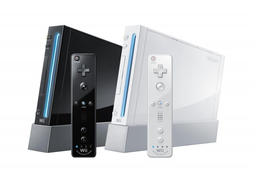 nintendo wii console black and white