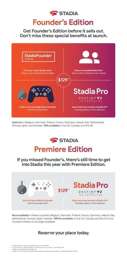 google stadia founder's edition en premiere edition