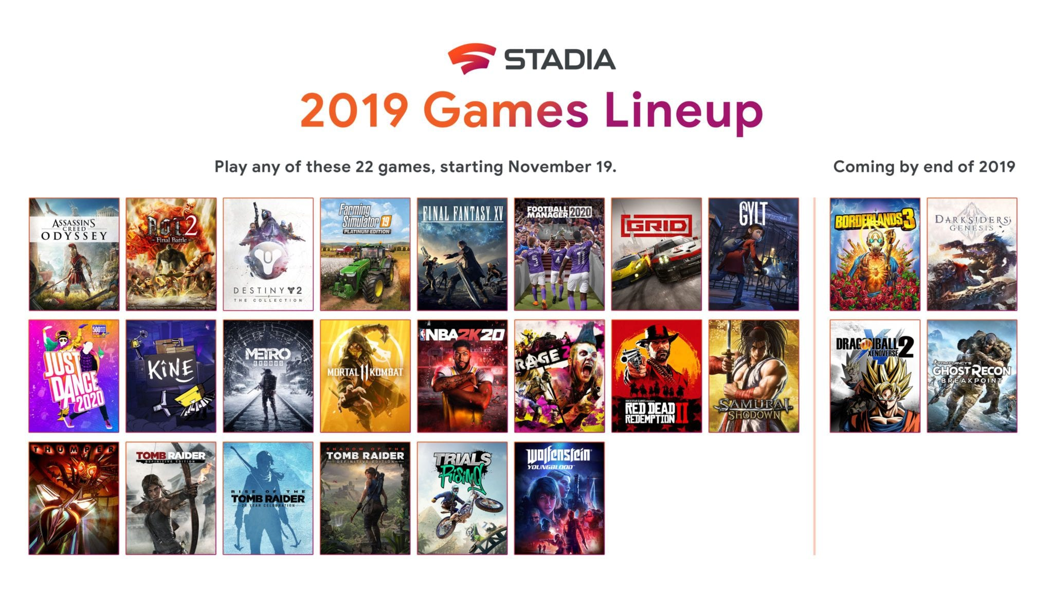 Google stadia launch lineup