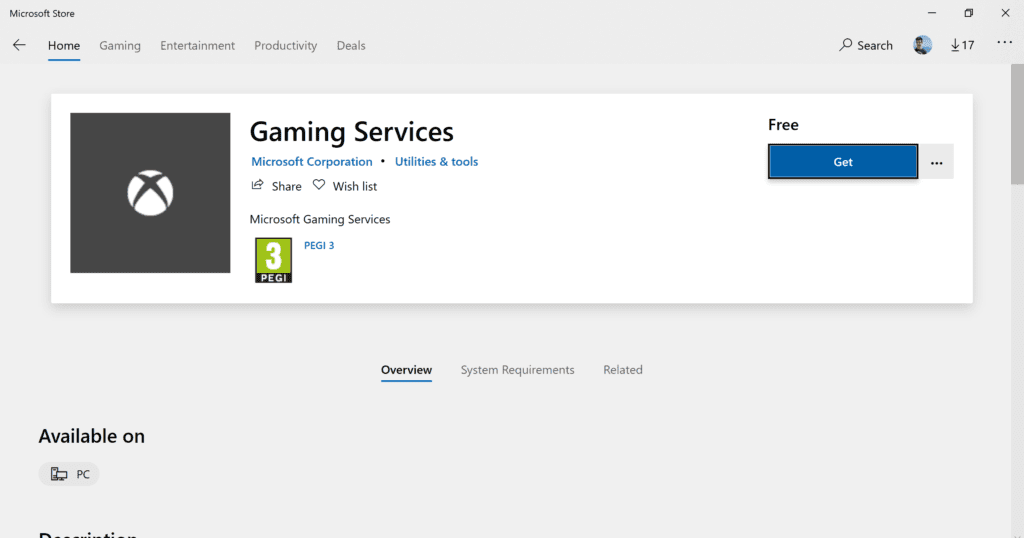 windows gaming services microsoft store