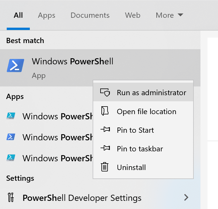 windows powershell run as administrator