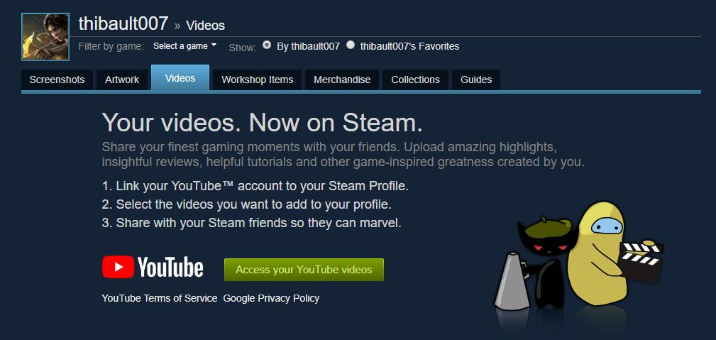steam access youtube
