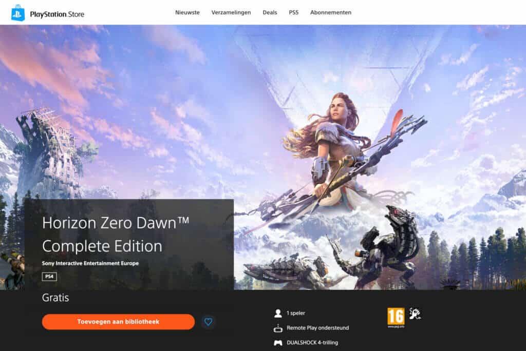 horizon zero dawn gratis playstation store