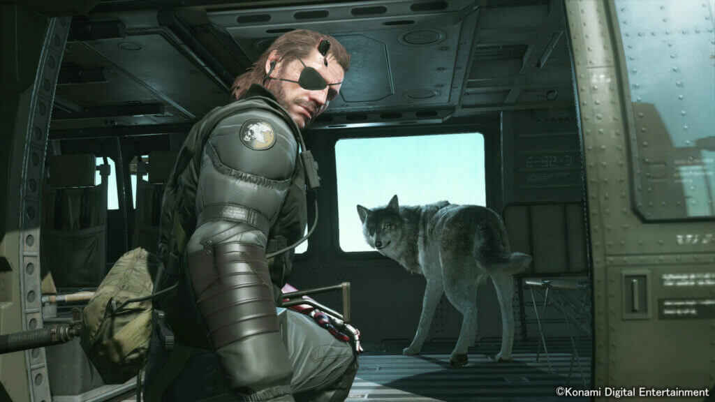 D-Dog (Diamond Dog) en Snake uit Metal Gear Solid V: The Phantom Pain