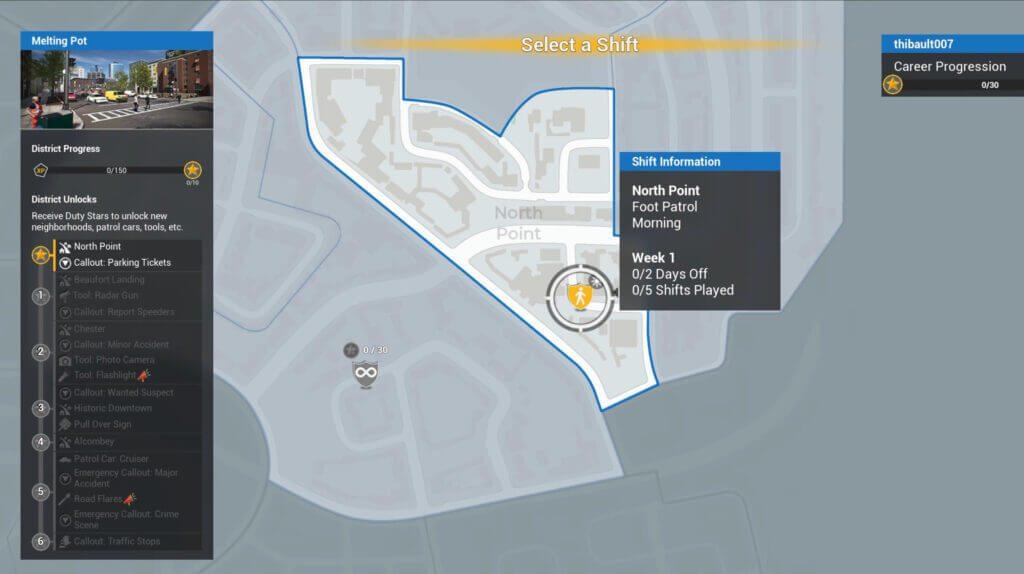 police simulator patrol officers map